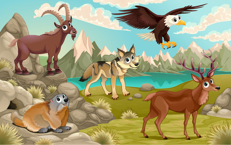 Funny animals in a mountain landscape. Vector cartoon illustration Vettoriali