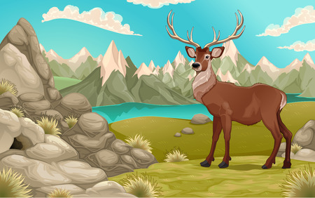 Mountain landscape with deer. Vector cartoon illustration Çizim