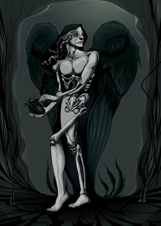 teufel engel: Die Geburt des B�sen. Vektor-Illustration Illustration