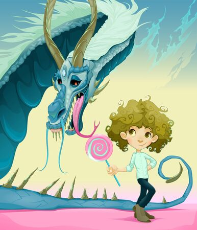 frienship: Friendship between boy and dragon. Vector illustration.
