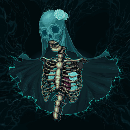 grotesque: Skeleton with veil and white roses. Vector horror illustration