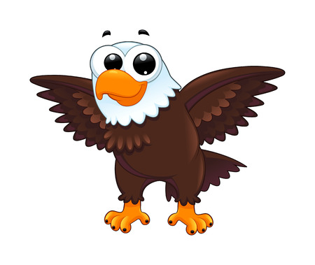 hawks: Young eagle. Funny cartoon vector isolated animal. Illustration