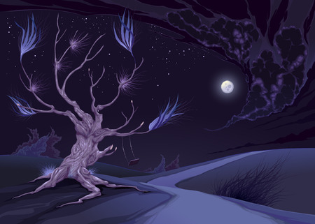 nightly: Nightly landscape with tree. Vector illustration