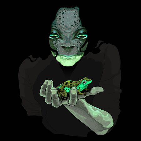 freaky: Metamorphosis, monster guy with a frog. Vector illustration