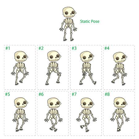 squelette: Animation du squelette marche. Huit cadres + 1 pose statique à pied. Vector cartoon isolé caractères  cadres.