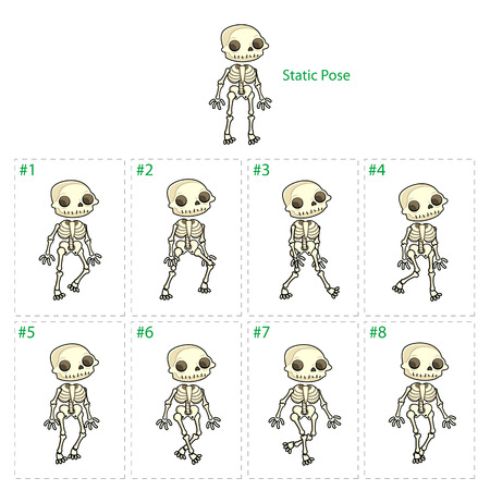 animation: Animation of skeleton walking. Eight walking frames + 1 static pose. Vector cartoon isolated characterframes.