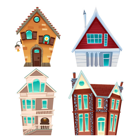 smokestack: Set of houses. Vector cartoon isolated items for games and graphics.
