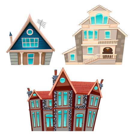 Set van huizen. Vector cartoon geïsoleerd items voor games en graphics.
