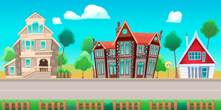 condo: Road with houses. The sides repeat seamlessly for a possible, continuous animation for games and graphics.