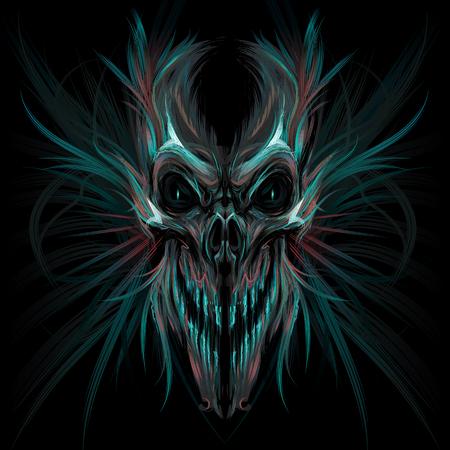 tete de mort: Cr�ne de cris fonc�. Vector illustration