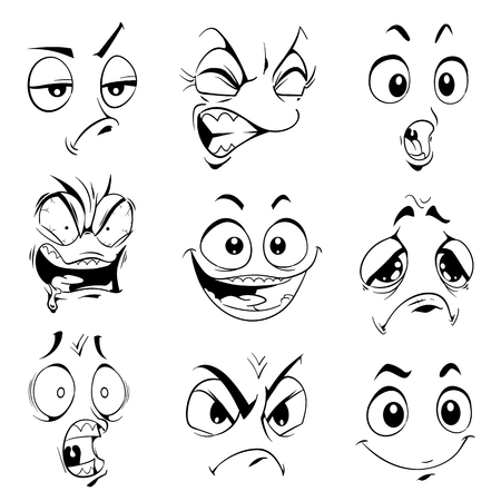 funny cartoon: Funny expressions. Vector cartoon isolated items.