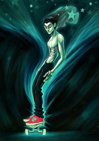 raster: Skater in the night. Digital raster illustration