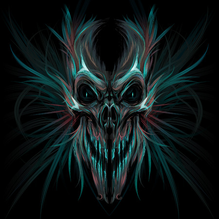 grotesque: Dark screaming skull. Vector illustration