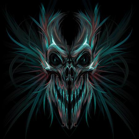 Dark screaming skull. Vector illustration