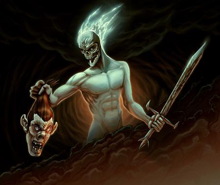 Demon in the battle. Raster illustration Stock Photo