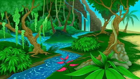 waterfall river: View in the jungle. Vector illustration