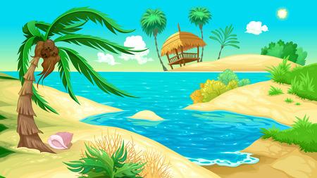 View on the beach. Vector illustration 일러스트
