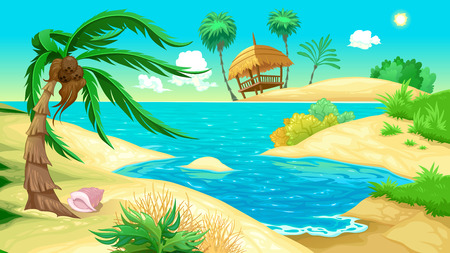 View on the beach. Vector illustration Çizim