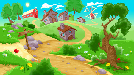 countryside: View on the countryside. Vector illustration