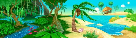 selva caricatura: Ver en la selva y el mar. Ilustración vectorial
