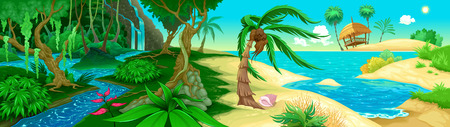 green river: View on the jungle and sea. Vector illustration
