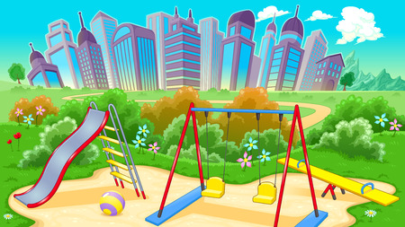 playground: View on the playground with city. Vector cartoon illustration Illustration