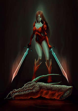 raster: Warrior with dragon. Raster illustration