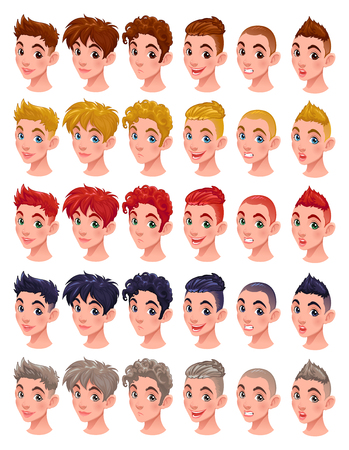 mouth: Avatar boys, vector isolated items. 6 hairstyles in 5 colors, 6 different mouths and 5 eye colors, in the vector file you can easily mix all these items. Illustration