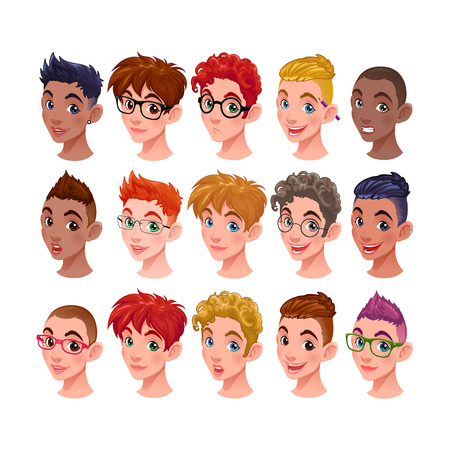 Set of boys with different hairstyles and accessories. Vector isolated characters and items, in the vector file the glasses and the hairstyles are easily interchangeable Illustration
