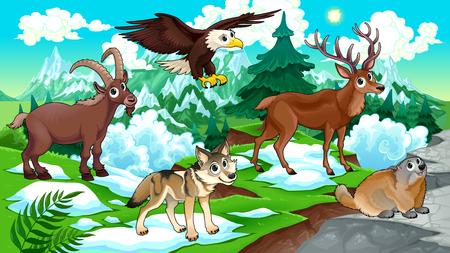 Cartoon animals, deer, eagle, groundhog, steinbock, wolf with landscape. Vector cartoon illustration. Illustration