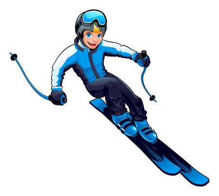 Young skier. Vector cartoon isolated character.