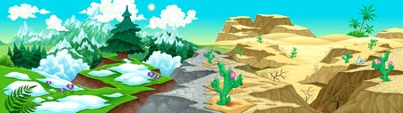 mountain oasis: View on mountains and desert. Vector cartoon illustration