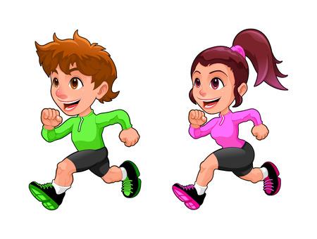 deportista: Muchacho que se ejecuta divertido y niña. Aislado vector de dibujos animados carácter. Vectores