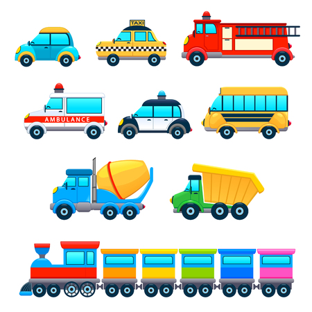 Funny vehicles. Vector cartoon isolated objects.