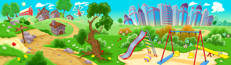 home and garden: View on the countryside and the city. Vector illustration