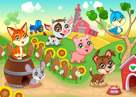 rural house: Cute farm animals in the garden. Vector cartoon illustration.