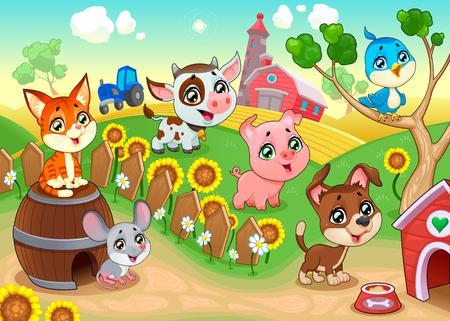 Cute farm animals in the garden. Vector cartoon illustration.