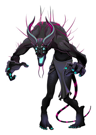 macabre: Monster with 6 eyes.  horror character