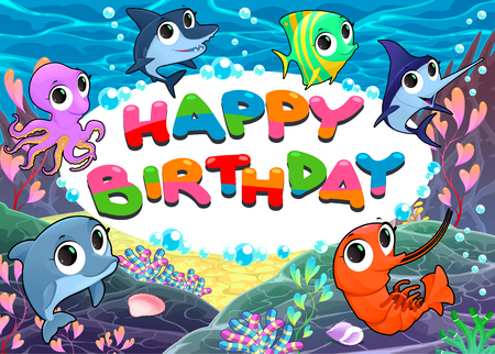 polyp: Happy Birthday card with marine life.