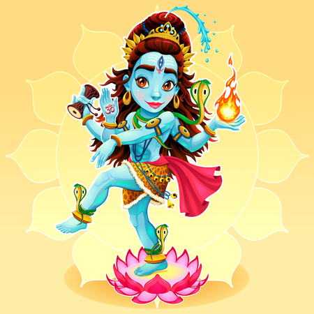 eastern: Dance of Shiva. Funny representation of eastern god