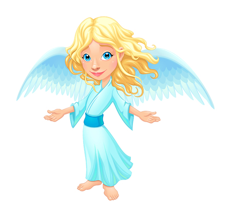 cute angel: Smiling angel with wings.  Illustration