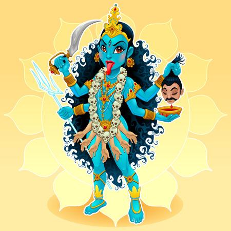 hindu goddess: Kali goddess. Funny representation of eastern god