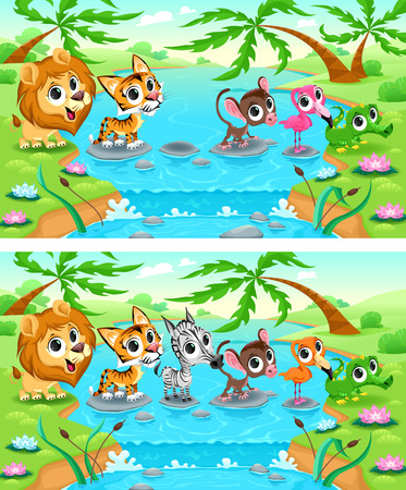 Spot the differences. Two images with six changes between them, vector and cartoon illustrations Vectores