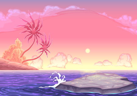 seascape: Romantic seascape in the sunset. Vector cartoon illustration
