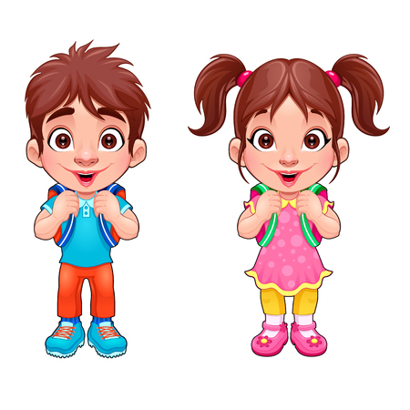 재미 어린 소년과 소녀 학생. 벡터 만화 캐릭터입니다.