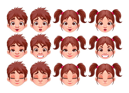 cartoon character: Different expressions of boy and girl.