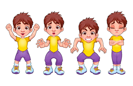 angry boy: Four poses of the same child, in different expressions. Vector cartoon isolated characters. Illustration