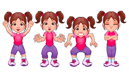 fear child: Four poses of the same girl, in different expressions. Vector cartoon isolated characters.