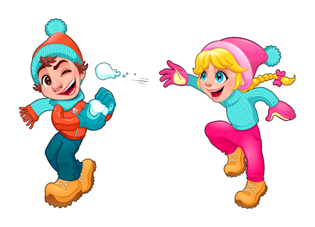 brother sister: Children are playing with snow. Vector cartoon isolated characters. Illustration