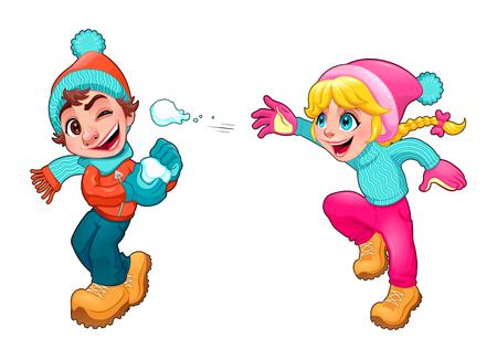 niños jugando: Los niños están jugando con la nieve. Aislado Vector de dibujos animados personajes.